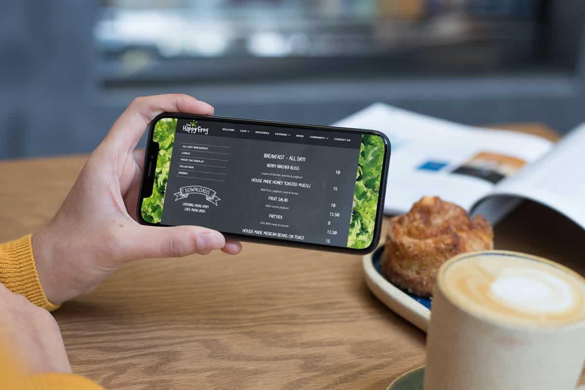 The Happy Frog Mobile Website Mock-Up